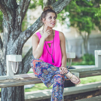 Mix Print Flare Pants in Navy