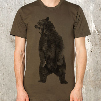 Angry Grizzly Bear T-Shirt - Men's Screen Printed American Apparel T-Shirt - Available in S, M, L, XL and 2XL