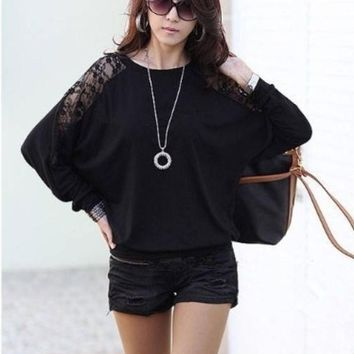 Women's Fashion Women Sexy Lace Batwing Long Sleeve Loose T Shirt Tops Blouse Pullover Dz88 3580 = 1946804868