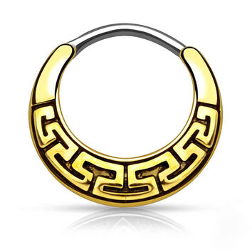 Maze Tribal Gold Daith Piercing Rook Earring Clicker