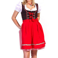 Dirndl Dress Red, Ethnic 3 Piece Oktoberfest Bavarian Trachten. Austrian, German Folk Outfit - Festival Costume With Apron and Blouse