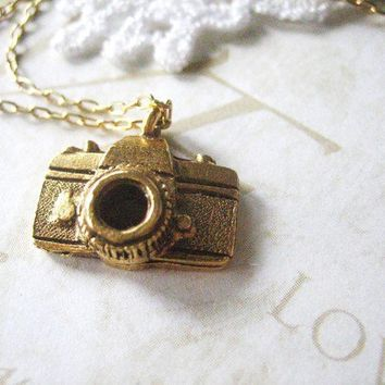 CAMERON camera necklace gold by brideblu on Etsy