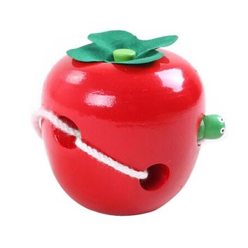 Lovely Colorful Kids Handmade Toy Infant Wooden Toy (Worm Eat The Apple)