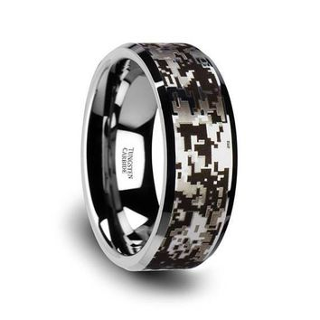 Digital Camouflage Silver Tungsten Wedding Ring Beveled Polished Finish -  8mm