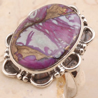 Old-fashioned Purple Copper Turquoise Ring in 925 Sterling Silver