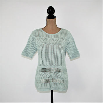 Short Sleeve Sweater Top Women Medium Petite Cotton Mint Blue Spring Sweater Pointelle Open Knit Talbots Womens Clothing