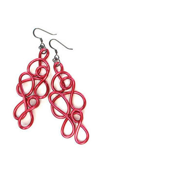 Watermelon Red Earrings Wire Art Large Lightweight Jewelry Swirl Whimsical