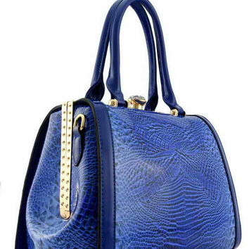 DESIGNER DIAMOND LOCK PATENT CROC DOCTOR BAG