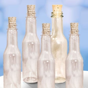 20 Plastic Bottles & Corks for Message in a Bottle Invitations