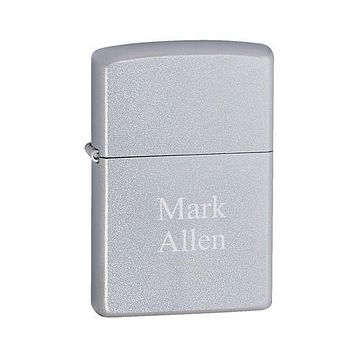 Zippo Satin Chrome Lighter Free Engraving