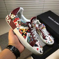 Dolce&Gabbana D&G Printed Leather White Red Sneakers - Best Deal Online