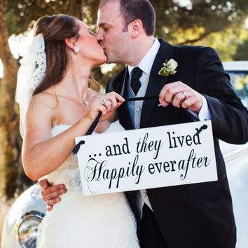 Ring Bearer Sign Double sided wedding sign And they lived happily ever after ring bearer sign with Here Comes the Bride