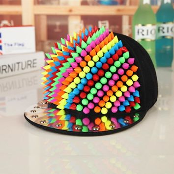 Unisex Spring Summer Colorful Rivet Baseball Caps Professional Punk  Men's Studs Hiphop Hats Personality Baseball Cap