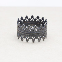 Oxidized 925 sterling silver Crown ring