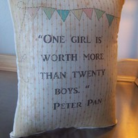 Peter Pan pillow girl room decor cotton throw pillow Bestseller