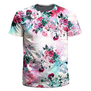 Pink Floral Men's T-Shirt by iEDM