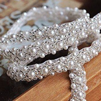 1 Yard Silver Beaded Rhinestone trim Bridal Crystal Trim Wedding Applique Belt