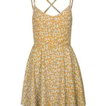 Yellow Floral V-neck Strap Back Cross Mini Dress