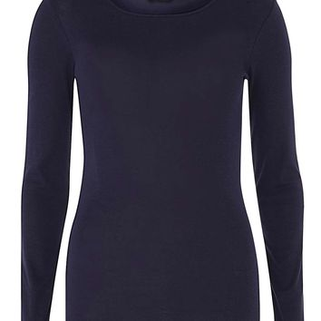 Navy Crew Neck Top - View All Clothing - Clothing