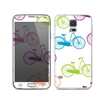 The Colorful Vintage Bike on White Pattern Skin For the Samsung Galaxy S5