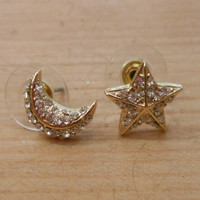 Gold Moon and Star Earrings - Stud Earrings - Moon and Star