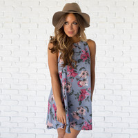 Magnetic Blue Floral Shift Dress