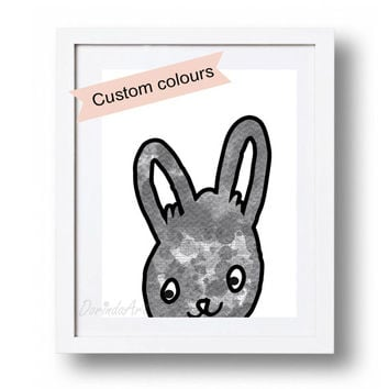 Black and white Nursery art Watercolor bunny printable Baby Bunny art print DOWNLOAD 5x7 8x10 11x14 16x20 Nursery animal wall illustration