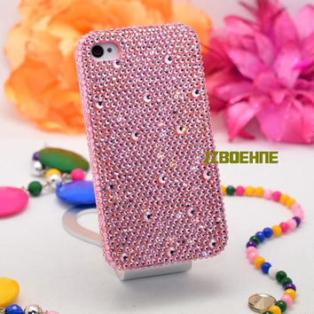 iPhone Case, Handmade iPhone 4 Case, iPhone 5 Cover, iPhone 4S Case, Bling Case, Pink Rhinestone Swarovski Crystal