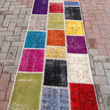Multicolor Pattern Mix Turkish Patchwork Carpet Runner Rug