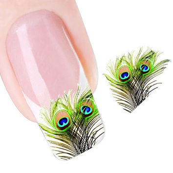 2017 Hot sale women Korean Nail Stickers Decals women girl ladies Peacock Feather Nail Tip Art Water Transfers Decal Sticker