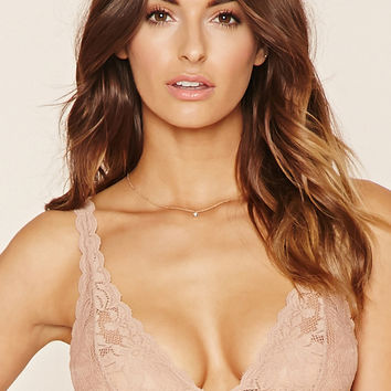 Semi-Sheer Floral Lace Bralette
