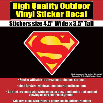 Superman Comic S Shield Vinyl Car Window Laptop Hardhat Bumper Sticker Decal