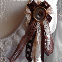 OOAK Shabby Chic 'Truffle Pixie' Mori Girl Woodland Brooch ~ Antique Lace and Vintage Button ~ by The Ivory Dolls