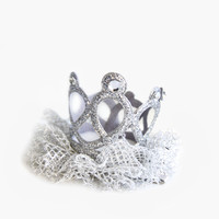 Hello Alyss Jewel Princess Crown Hair Clip - Silver