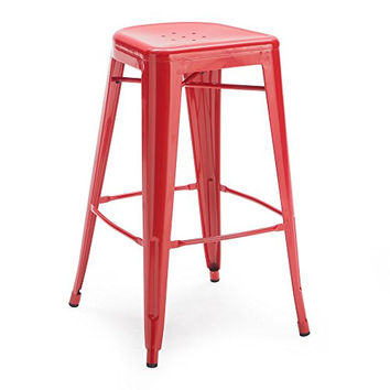 Square Front Metal Bar Stools - 2 Piece Red kitchen dining