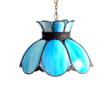 Tiffany Blue Stained Glass Lamp Tulip Swag Pendant light White Marbled Curved Glass Panels Hanging Overhead Ceiling Parlor Chandelier
