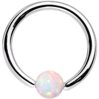 "16 Gauge 5/16"" 3mm White Synthetic Opal Steel BCR Captive Ring"