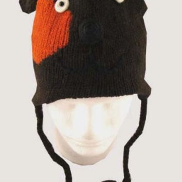 Adult Size Knit Puppy Dog 100% Wool Pilot Ski Animal Cap / Hat With Fleece Lined Pom Pom