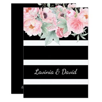 Pink Wildflowers Watercolor Weddings Card
