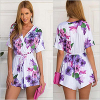 Floral V-neck Short Sleeve Pleated Rompers