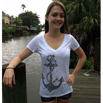 Shore Side Anchor V Neck Tee Shirt