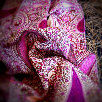 Large Paisley Scarf Pashmina Scarves Pink Orchid Magenta Women Fashion Accessories