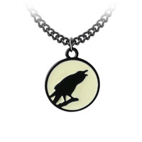 Alchemy Gothic Caw at the Moon Raven Crow Pendant Necklace