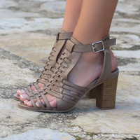Birmingham Bay Caged Taupe Heel Sandals