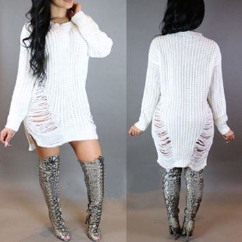 US Ship Women Winter Long Sleeve Jumper Knitted Sweater Bodycon Tunic Mini Dress
