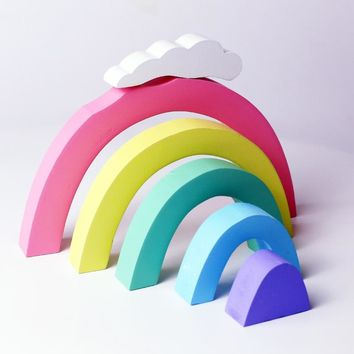 Rainbow Stacking Toys Colorful Wooden Blocks Toddler Toys For Months Baby Educational Toy Baby Room Decoration Designer For Kid