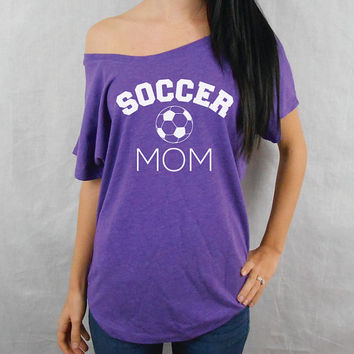 SOCCER Mom. Flowy Off Shoulder T-Shirt. Cute Slouchy Tee. Wide Neck T-Shirt. Off the Shoulder Soccer Mom Shirt. Kids Soccer Shirt.