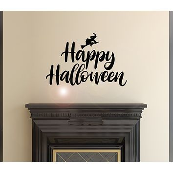 Vinyl Wall Decal Words Happy Halloween Witch Magic Witchcraft Stickers Mural 22.5 in x 15 in gz157