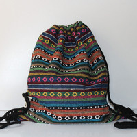 canvas Bohemia  vintage backpack string bag travel organizer  printing backpack