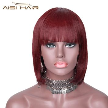 It's a wig Bob Synthetic Wigs With Bangs Short Burgundy Hair